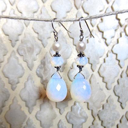 Pearl and Opalite Sterling Silver Drop Earrings