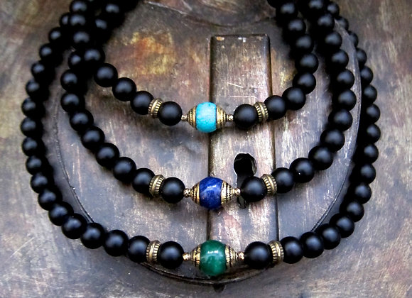 Sacred Matte finished Onyx Necklace 26 inches with 8 mm beads