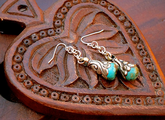 Silver Large Turquoise Statement 2 inch Drop Earrings with silver wrapping