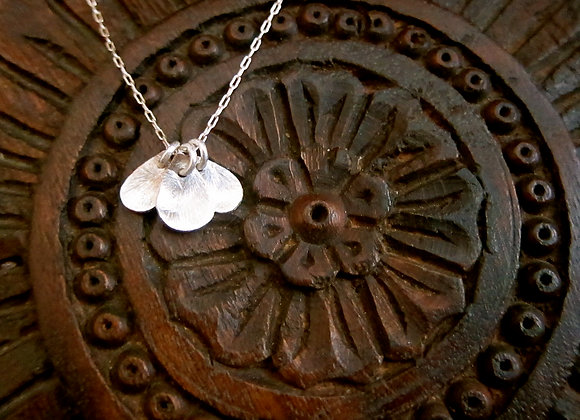 The 3 petal Floating Lotus on Sterling Silver chain Necklace
