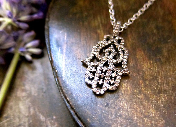 The Pave Diamond Hamsa Hand of God Pendant on Sterling Silver Chain Necklace