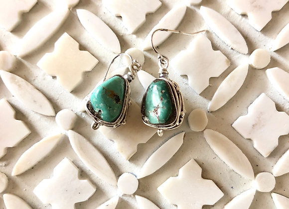 Wanderer Silver Wrapped Turquoise Nugget Earrings by Breathe Deep Designs
