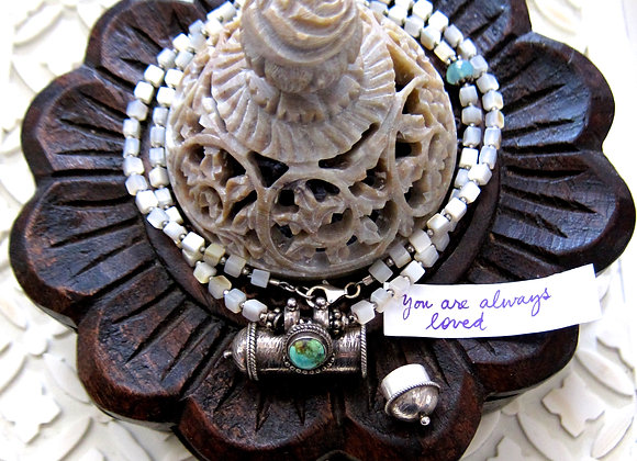 Mother of Pearl and Turquoise Prayer Container Necklace with Sterling Silver Lobster Clasp and Blue Angelite Gemstone