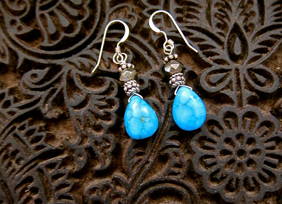 Sterling silver, Turquoise and Pyrite Earrings