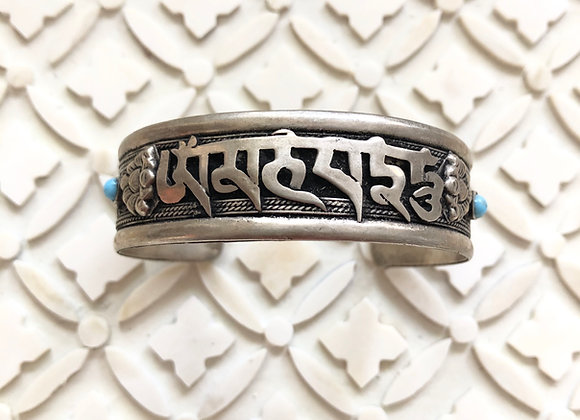 Tibetan Mantra on Silver Plated Cuff