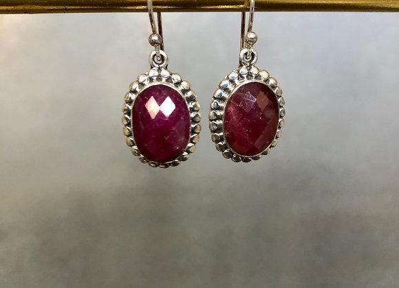 Faceted Pink Rubies Earrings set in Sterling Silver