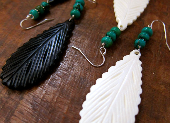 Carved Bone Feather with Turquoise Earrings 3 inches black and white