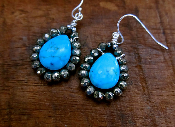 Faceted Pyrite, Turquoise and Sterling Drop Earrings