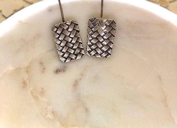 Fine Silver Woven Earrings