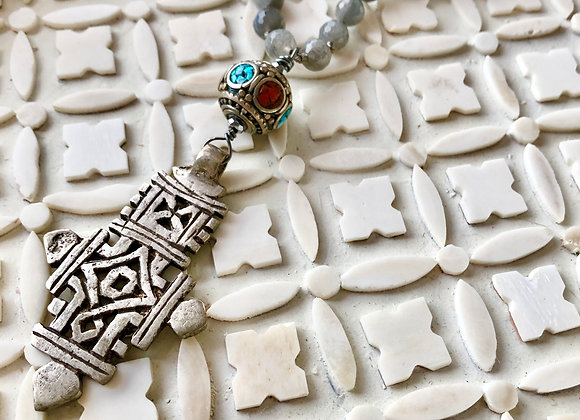 The Antique bead and Silver Cross Necklace