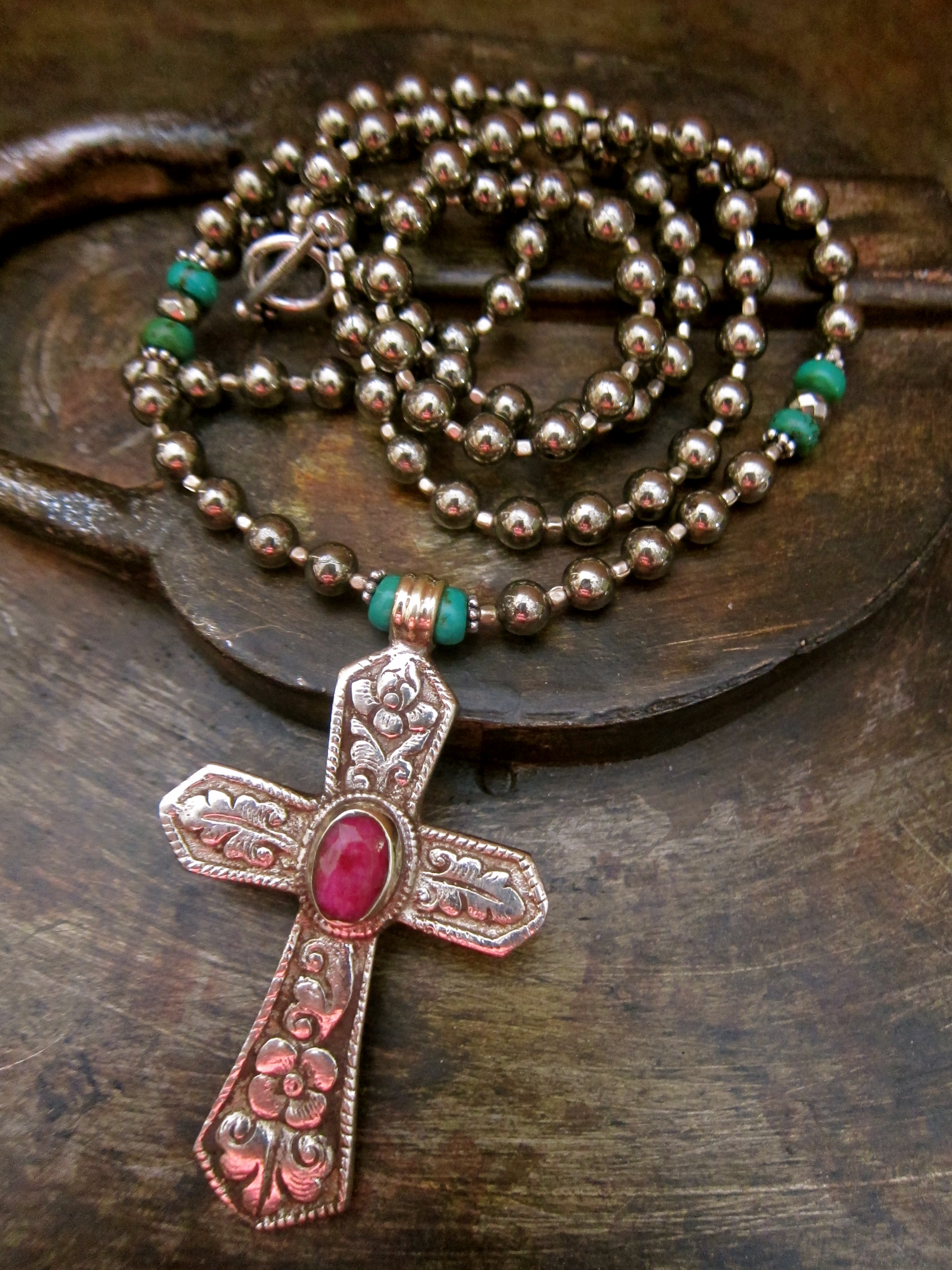 The Pyrite & Pink Ruby Cross