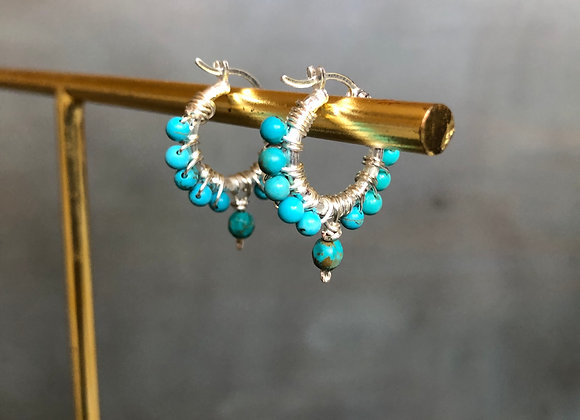 The small Sterling silver Huggies loops with Turquoise