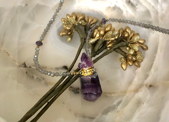 Perfume decanter gemstone necklace