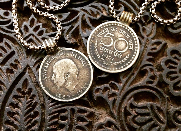 50 Paisa Antique Indian Coin on Gunmetal Necklace