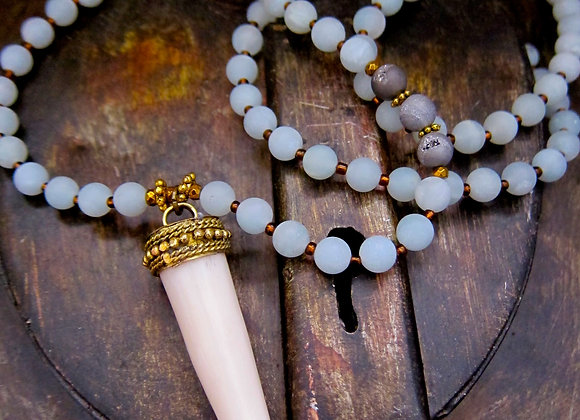 Matte Finished Blue Amazonite Stone Tusk Necklace 33 inches with 2 inch Tusk