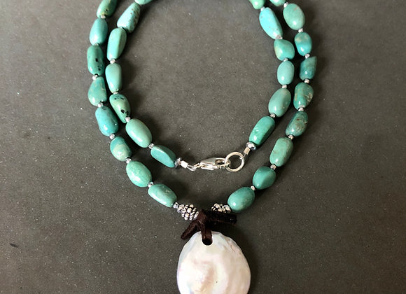 Wanderer Green Turquoise, leather and button Pearl Necklace