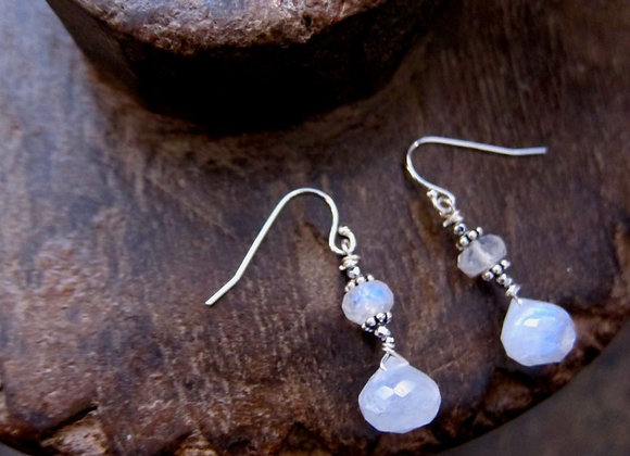 Faceted Moonstone Drop Earrings with Sterling Silver Hooks