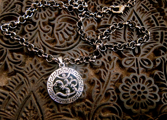 Sterling silver Om Pendant  with 20 inch Gunmetal Chain Necklace