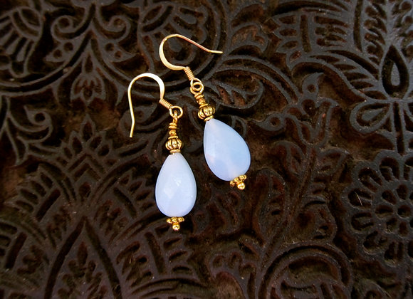Faceted Blue Opals Drop Earrings with Brass wire and Hematite