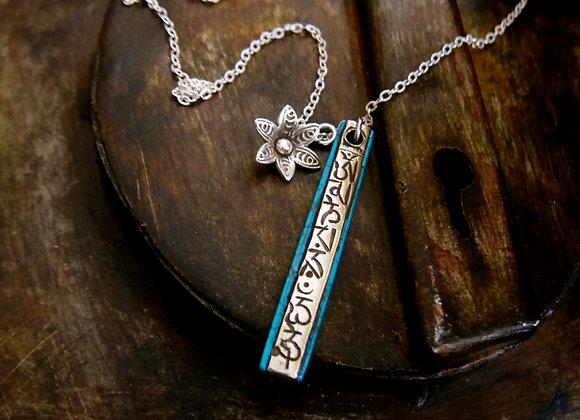 Sterling Silver Om Mani Padme Hum Turquoise Necklace with fine silver open Lotus for yogis and Hindu