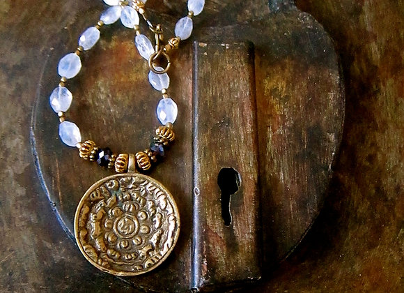 Rainbow Moonstone Nepalese Calendar Pendant with African Brass Seed beads and Swarovski crystal 21 inches long Necklace