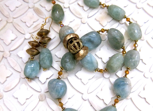 Aquamarine and Asymmetrical African Brass Lobster Claw Clasp Necklace