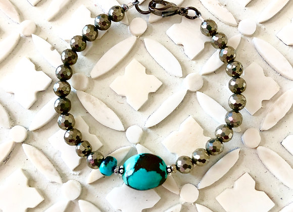 Wanderer Pyrite and Turquoise Keepsake Bracelet