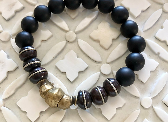 Wanderer Brass Beaded Stretch Bracelet in Matte finished Onyx