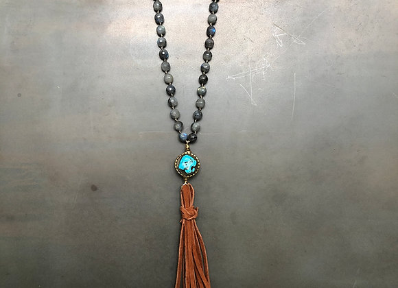 Labradorite with Antique Turquoise Bead and Leather Necklace