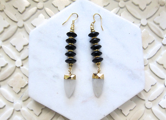 Buffalo Horn and Faceted Moonstone Arrowhead Earrings by Breathe Deep Designs
