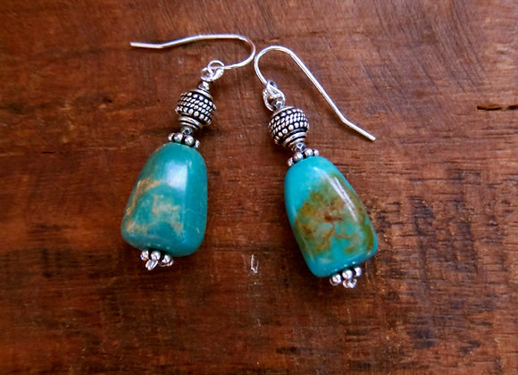 Beautiful 1 Inch Turquoise Nugget Earrings with Sterling Silver Hooks