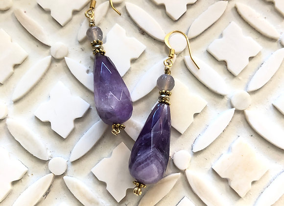 Chevron Amethyst drops with Gray Agates on Brass Earrings