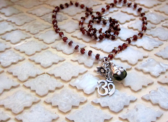 Red and Green Garnet and Sterling Silver Om Necklace