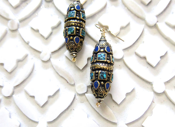 Brass Inlay Earrings with genuine Turquoise and Lapis 1.75  inches