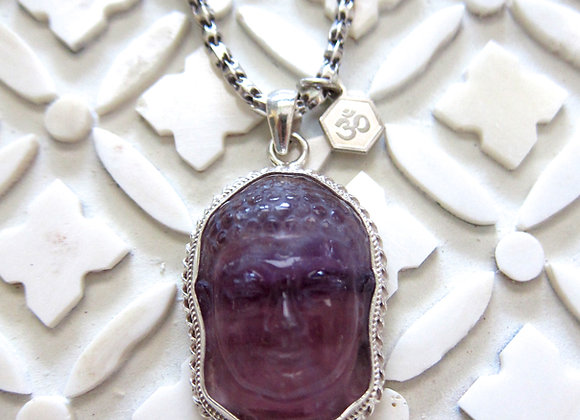 Fluorite Buddha on Fine Silver Chain Necklace