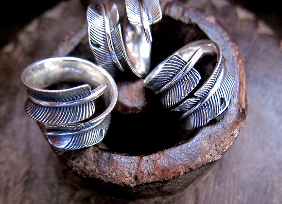 Sterling Silver Detailed Feather Wrap Rings