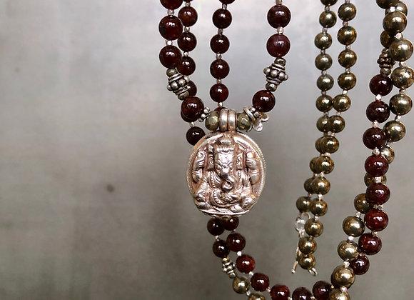 Red Garnet and Sterling silver Ganesha Locket Necklace