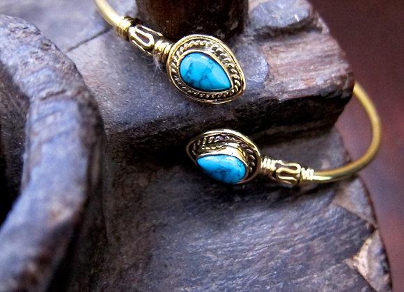 Turquoise Tear Drop on Brass Cuff Bracelet