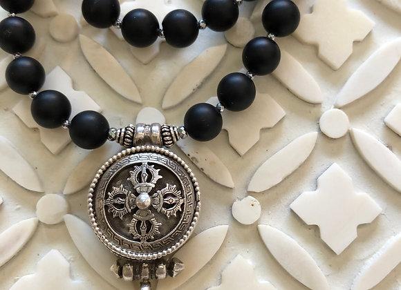 Prayer Gau and Onyx Necklace 1.5 inch pendant