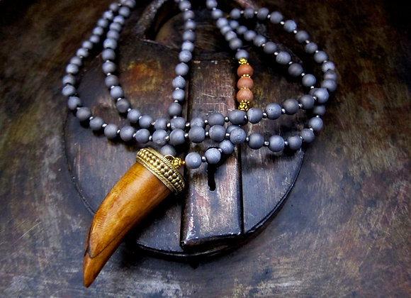 Matte Gray Druzy and Sandalwood 35 inch Necklace with 2 inch Tusk