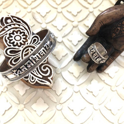 Om Mani Padme Hum Sterling Ring and Cuff