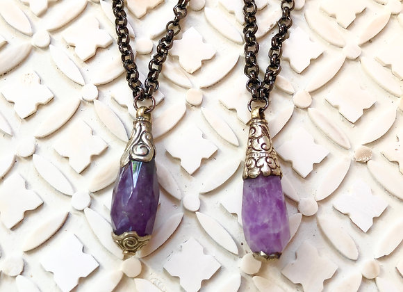 Silver Wrapped Amethyst on Gunmetal Necklaces 34 inches