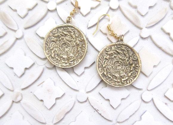Golden Tibetan Lunar & Solar Calendar Earrings 1.5 inches