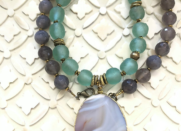Gray and Blue gemstone necklace with large agate pendant