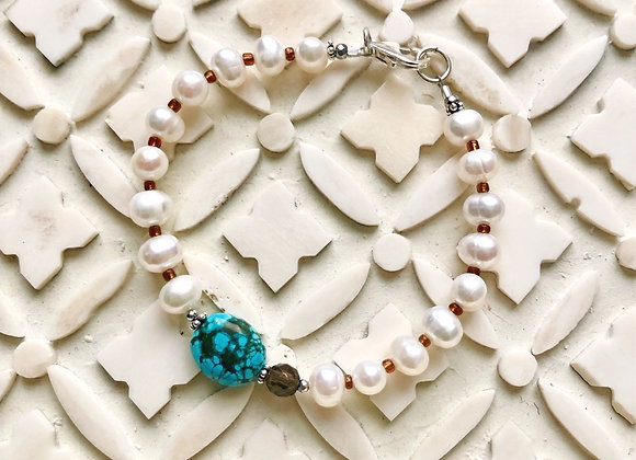 Breathe Deep Designs Keepsake Pearl and Turquoise Bracelet