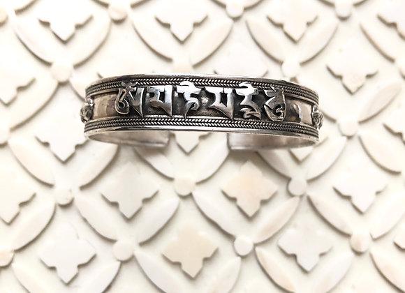 Wanderer Om Mani Padme Hum Tibetan Sterling Silver Cuff