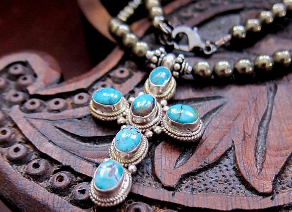 The Wanderer Silver Turquoise Cross Necklace by Breathe Deep Designs