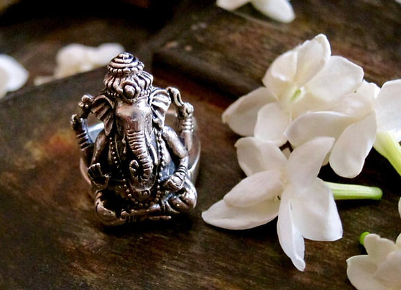 The Wandering Ganesha Sterling Silver Ring