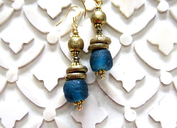 Upcycled Teal Blue Ghana Glass Earrings