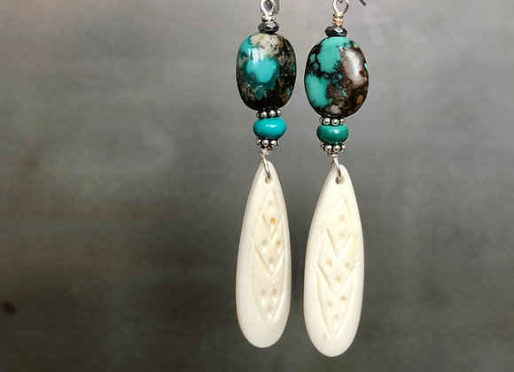 Bone Feather and Turquoise Drop Earrings